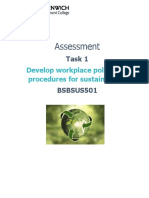 Assessment Task 1 - BSBSUS501 Develop workplace policy and procedures for sustainability.docx