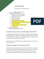 Alguns pontos relevantes sobre ISO 9001