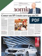 Comer em SP é mais caro que em NY - Jornal O Estado de S. Paulo - 16/Jan/2011 - Pg. B1