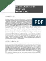 TRAPIANTO AUTOLOGO ed ALLOGENICO DI CELLULE STAMINALI EMATOPOIETICHE