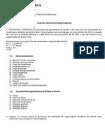 Lista de Exercícios - Engrenagens