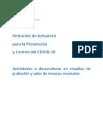 Protocolo para Estudios de grabación y de ensayo musical