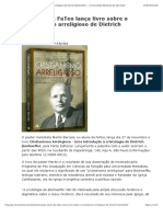 Ex-aluno da FaTeo lança livro sobre o cristianismo arreligioso de Dietrich Bonhoeffer — Universidade Metodista de São Paulo