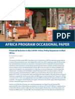 Financial Inclusion in the COVID-19 Era Policy Responses in West Africa