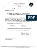 DEADLINES FOR FILING OF APPLICATIONS FOR THE JULY 2011 NURSES LICENSURE EXAMINATION