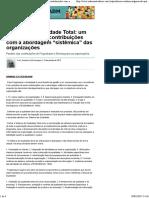 """""""Gurus"""" da Qualidade Total_ um paralelo de suas contribuições com a abordagem """"sistêmica"""" das organizações - Produção acadêmica - Administradores.com"""