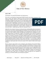 Gov. Lujan Grisham's letter to UNM and NMSU