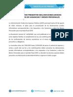 MÁS TIEMPO PARA PRESENTAR DECLARACIONES JURADAS INFORMATIVAS DE GANANCIAS Y BIENES PERSONALES