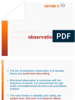 Observation Lecture 9
