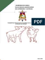 parámetros productivos en fases de cerdos