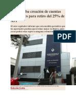 BS Aprueba Creación de Cuentas Intangibles Para Retiro Del 25