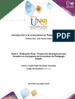 Formato 4 - Formato para la elaborar la proyección del propio proceso formativo en el programa de Licenciatura