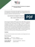 Sílabo - Periodismo de Investigación en tiempos de pandemia - Ucayali