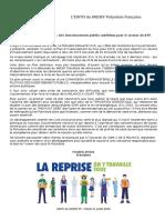 Edito Du Medef Pf Du 20-07-20 Plan de Relance Volet 1