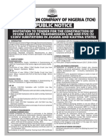 INVITATION TO TENDER FOR THE CONSTRUCTION OF 391km 132kV DC TRX LINE AND FIVE 132kV SUBSTATION IN JIGAWA AND KATSINA STATE