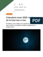 Calendario lunar 2020- las fases de la luna mes a mes