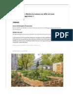Urbanisme- «Mettre la nature en ville est une promesse dangereuse»