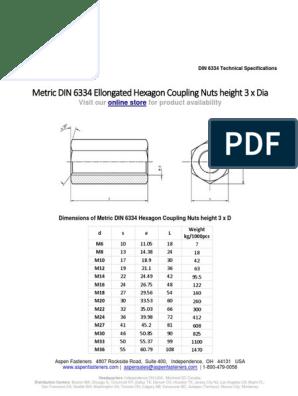 COUPLING NUT M10 DIN 6334 tensile strength 10
