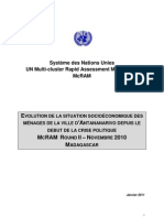 Evolution de la situation socioéconomique des ménages de la ville d'Antananarivo depuis le début de la crise politique, Madagascar. United Nations Multi-cluster Rapid Assessment Mechanism (McRAM Round II - Novembre 2010, Antananarivo)