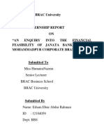 "Internship Report ""AN ENQUIRY INTO THE FINANCIAL FEASIBILITY OF JANATA BANK LIMITED''"