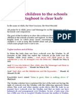 Sending Children to the Schools of the Taghoot is Clear Kufr
