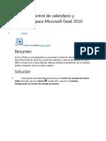 Habilitar Control de calendario y DatePicker para Microsoft Excel 2010
