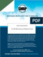 SMRP Metric 5.5.38 Storeroom Maintenance Material Cost