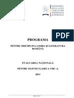 1 Programa Evaluare Nationala 2011 Limba Si Literatura Romana-6294