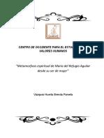 Metamorfosis espiritual de María del Refugio Aguilar desde su ser de mujer.27-11-17