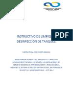 INSTRUCTIVO DE LIMPIEZA Y DESINFECCIÓN DE TANQUES