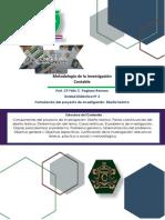Unidad Didáctica 3 - Formulación del proyecto de investigación. Diseño Teórico. Marco Teórico.
