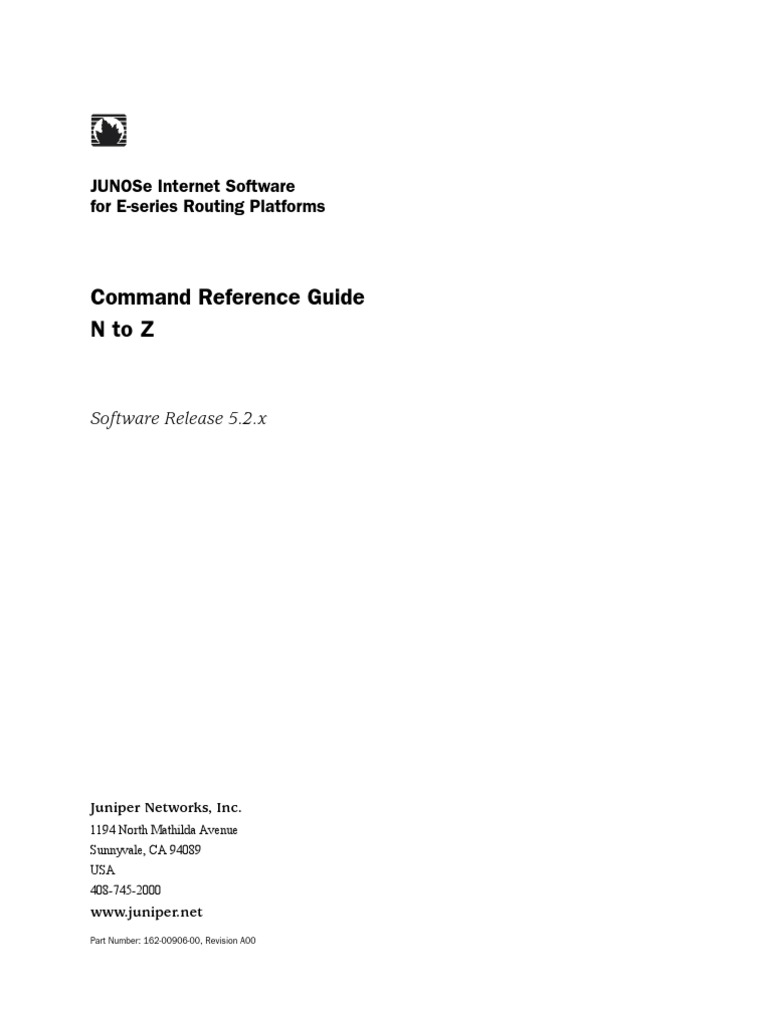 Command Reference Guide Ntoz: Junose Internet Software For E-Series