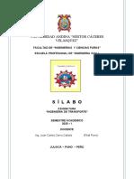Silabo Ing. Transp. UANCV-2020-I