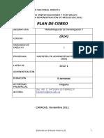 Plan de curso de metologia de la investigación I