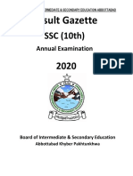 Result Gazette SSC 10Th 2020