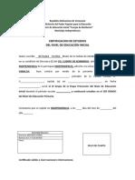 Certifiacado de Estudios de Nivel de Educacion Inicial