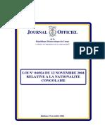 loi sur la nationalité congolaise