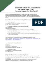 Procédure de saisie des conventions  de stage sous l'ENT
