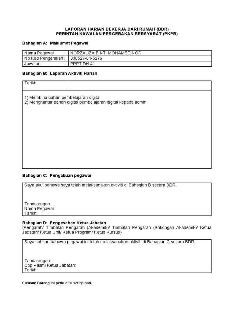 Borang Laporan Harian Bdr Docx