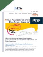Appel à Manifestation d'Intérêt Open Data Action Coeur de Ville – OpenDataFrance