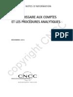 COLLECTION NOTES D'INFORMATION LE COMMISSAIRE AUX COMPTES ET LES PROCÉDURES ANALYTIQUES