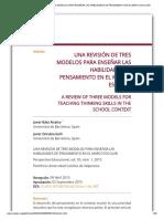 UNA REVISIÓN DE TRES MODELOS PARA ENSEÑAR LAS HABILIDADES DE PENSAMIENTO EN EL MARCO ESCOLAR