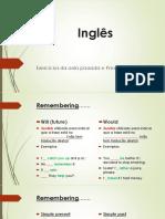 Inglês. Exercícios da aula passada e Present Continuous
