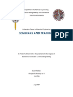 Chemical Engineering Seminars and Training Narrative Report