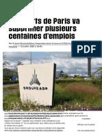 Aéroports de Paris va supprimer plusieurs centaines d'emplois - Libération