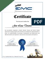 Certífícate EMC Satlink Network Operations Joe Loza