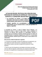 C38. Actualización del Protocolo de atención en hoteles y restaurantes