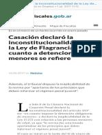 Casaci+¦n declar+¦ la inconstitucionalidad de la Ley de Flagrancia en cuanto a detenciones de menores se refiere  Fiscales.gob.ar