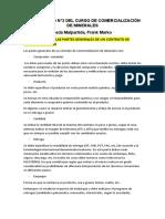 CUESTIONARIO N°2 DEL CURSO DE COMERCIALIZACIÓN DE CONCENTRADOS