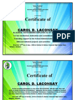 Certificate of commendation INSET